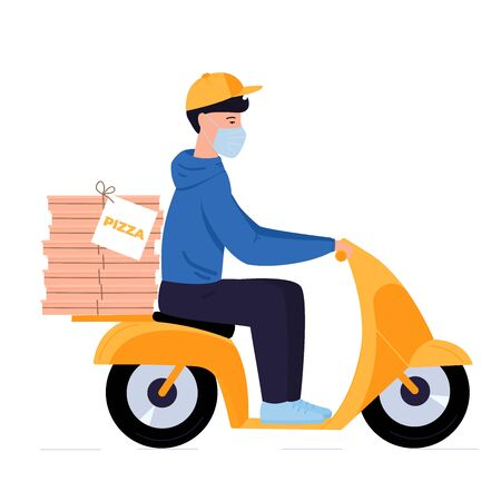 COVID-19. Quarantine in the city. Coronavirus epidemic. Delivery man in a protective mask carries pizza on a motorbike.