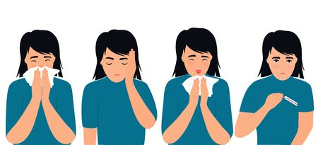 Flu and cold symptoms. coronavirus, COVID-19 Girl suffering from fever, runny nose, cough, headache. The child sneezes.