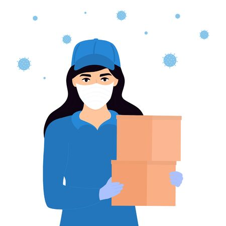 COVID-19. Quarantine in the city. Coronavirus epidemic. Courier girl in a protective medical mask holds a parcel in her hands. Free food delivery. Stay home. Foto de archivo - 143715017