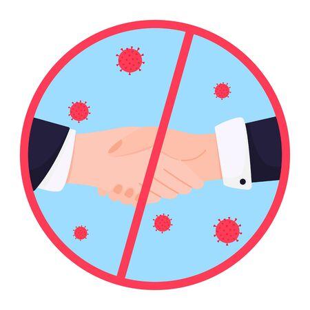 COVID-19. Quarantine in the city. Coronavirus epidemic. No handshake vector icon on a white background. Prohibition sign.