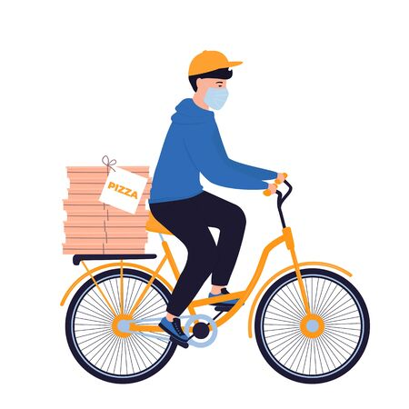 COVID-19. Quarantine. Coronavirus epidemic. Delivery man in a protective mask carries pizza on a bicycle. Free food shipping. Foto de archivo - 143715175