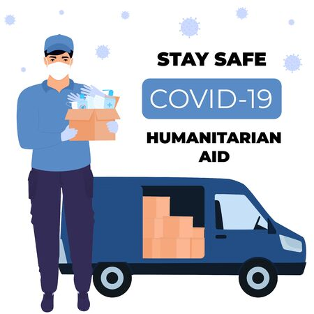 COVID-19. Supply of medical protective masks, surgical gloves and disinfectants. Coronavirus epidemic. Courier brought humanitarian aid in a car. Vecteurs