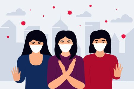 COVID-19. Stop Coronavirus. Novel virus 2019-nCoV. Concept of quarantine, prevent infection. Group of women in white protective masks are in a contaminated infected city.  イラスト・ベクター素材