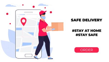 COVID-19. Coronavirus epidemic. Courier in a protective medical mask carries a parcel in his hands. Online ordering of goods and food. Safe delivery. Web page design templates. Stay home