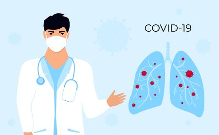 Coronavirus COVID-19. A doctor in a medical gown talks about the virus. Infected lungs. Horizontal banner. Symptoms. Human sickness. Colds and inflammation. Pneumonia.