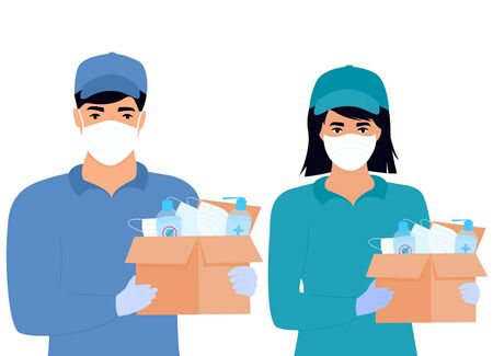 COVID-19. Humanitarian aid. Supply of medical protective masks and disinfectants. Coronavirus epidemic. Delivery girl and man delivering parcel.