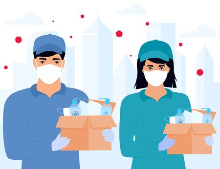 COVID-19. Humanitarian aid. Supply of medical protective masks and disinfectants. Coronavirus epidemic. Delivery girl and man delivering parcel. Stock Illustratie