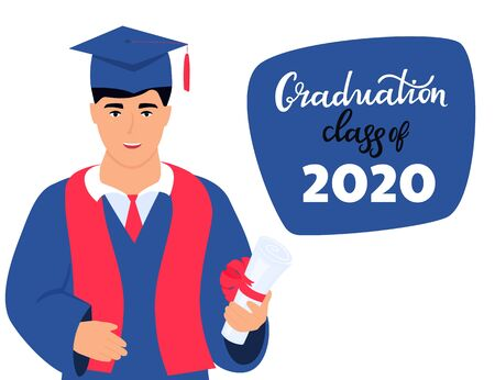 Graduation class of 2020. Invitation to the virtual ceremony. Greeting banner. A graduate in a mantle and a mortarboard holds a diploma in his hand.