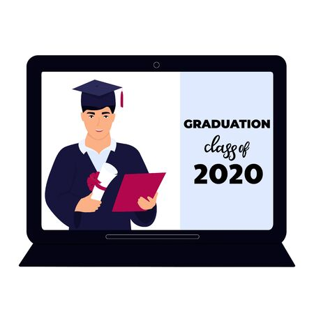 Graduation class of 2020. Virtual online ceremony on a laptop monitor during coronavirus quarantine. Graduate in gown and mortarboard holds a diploma