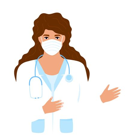 Woman doctor in a white medical coat and protective mask talks about   virus 2019-nCoV. Coronavirus treatment. Concept of quarantine, prevent infection.