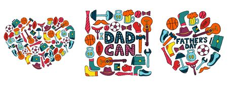 Happy Father's Day. Set of banners in doodle style. Men's lifestyle, sports equipment, clothes and accessories