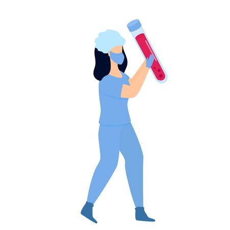 Laboratory assistant in protective suit and mask  vaccine ampoule in hand.  treatment.  . Illustration