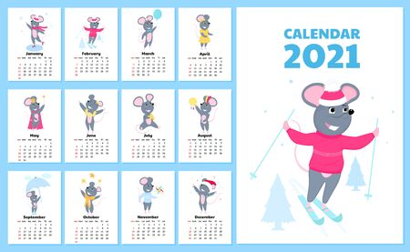Calendar for 2021 from Sunday to Saturday. Cute rats in different costumes. Vectores