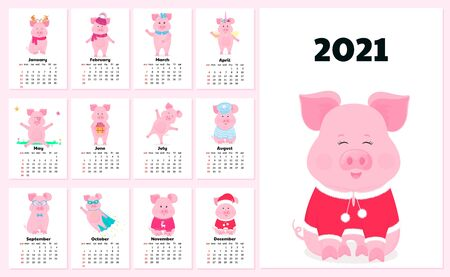 Calendar for 2021 from Sunday to Saturday. Cute cartoon pigs. Vectores