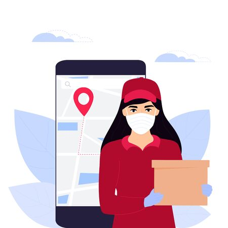 Courier girl in a protective medical mask holds a parcel.