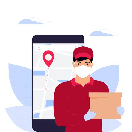 COVID-19. Coronavirus epidemic. Courier man in a protective medical mask holds a parcel. Online ordering of goods and food. Safe delivery Vectores