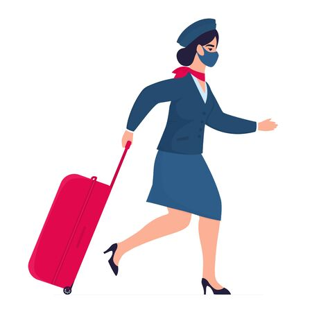 Stewardess is in protective mask with a suitcase hurries for the flight. Opening of cordons after quarantine. COVID-19 Vectores