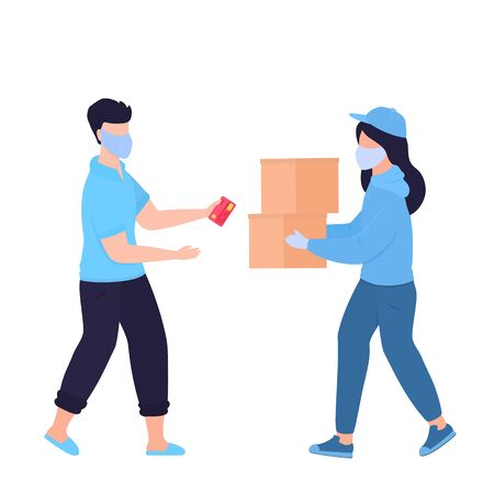 COVID-19. Coronavirus. Safe delivery. Woman in a protective medical mask brought the parcel . A quarantined man picks up a cardboard box from a courier. Order food. Self isolation Vectores
