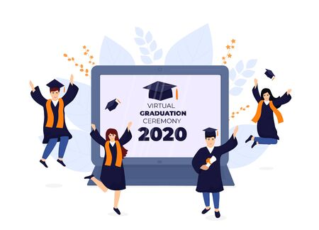 Virtual online graduation ceremony on a laptop monitor during coronavirus quarantine. Tiny graduates in gowns and mortarboards celebrate completion of studies. Class of 2020.
