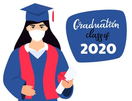 Graduation virtual ceremony during coronavirus quarantine. Class of 2020. A student girl in a protective medical mask holds a diploma in his hands. Greeting banner.