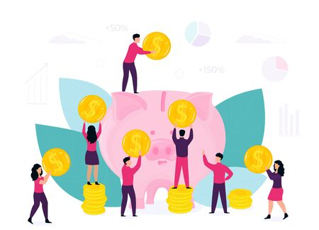 Saving Money concept. Tiny people characters around big piggy bank with golden coins. Vector flat design for business, technology, finance Vectores
