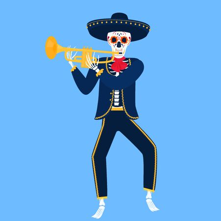 Mariachi. Funny skeleton plays the trumpet. Sugar Skull for the Day of the Dead.