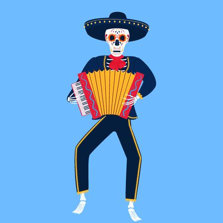 Mariachi. A funny skeleton plays the accordion. Sugar Skull for the Day of the Dead.