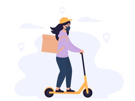 COVID-19. Coronavirus epidemic. Delivery girl in a protective mask carries food on a electric scooter. Free shipping.