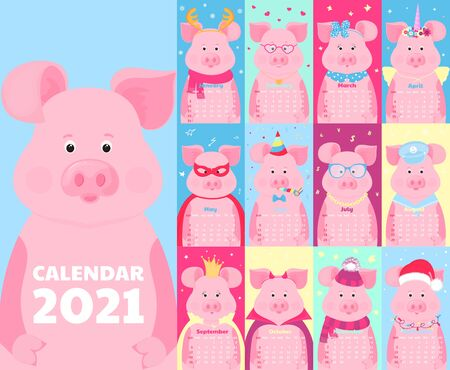 Calendar for 2021. Week start on Sunday. Funny pigs in different costumes. Vectores