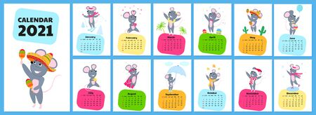 Calendar for 2021 from Sunday to Saturday. Cute rats in different costumes. Mouse cartoon character. Funny animal. Vectores