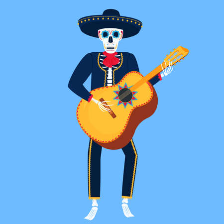 Mariachi. Funny skeleton plays guitarron. Sugar Skull for the Day of the Dead.
