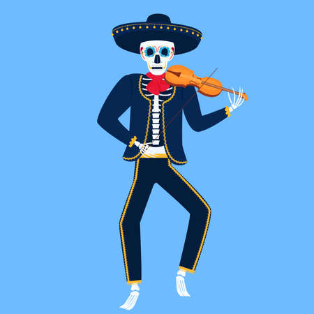 Mariachi. Funny skeleton plays the violin. Sugar Skull for the Day of the Dead.