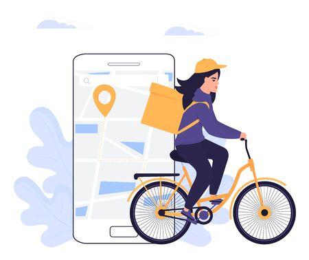 Courier girl delivers parcel on a bicycle. Order food online