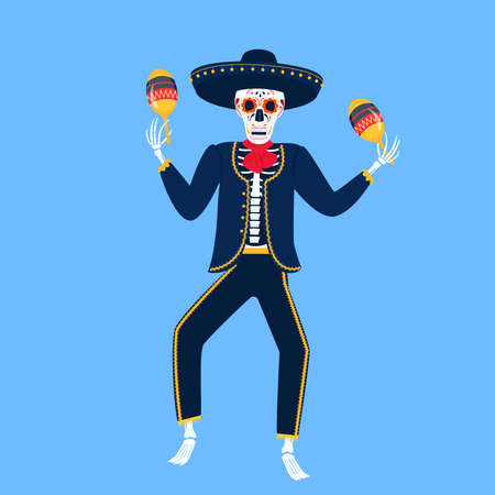 Mariachi. Funny skeleton plays on maracas. Sugar Skull for the Day of the Dead.