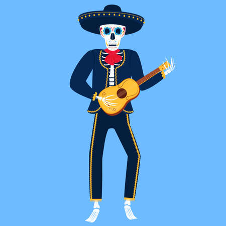 Mariachi. Funny skeleton plays Spanish guitar. Sugar Skull for the Day of the Dead.