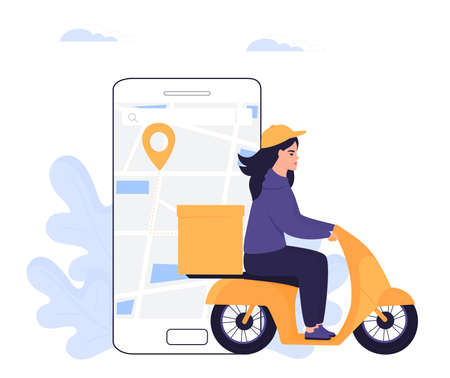 Courier girl delivers parcel on a motorcycle. Order food online