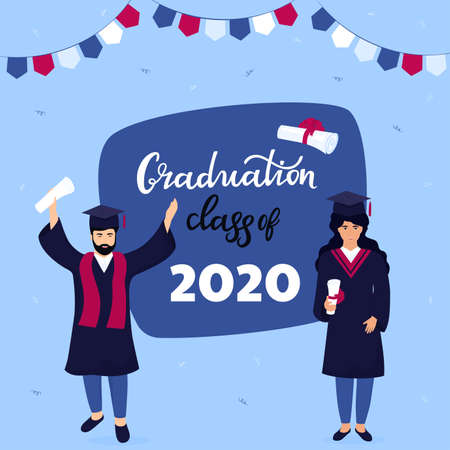 Graduation ceremony. Class of 2020. Greeting banner. Graduates celebrate completion of studies. Illusztráció
