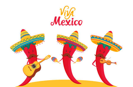 Viva Mexico hand drawn lettering. Independence day. Funny chili peppers in sombrero play musical instruments guitar, violin and maracas Standard-Bild - 150685918