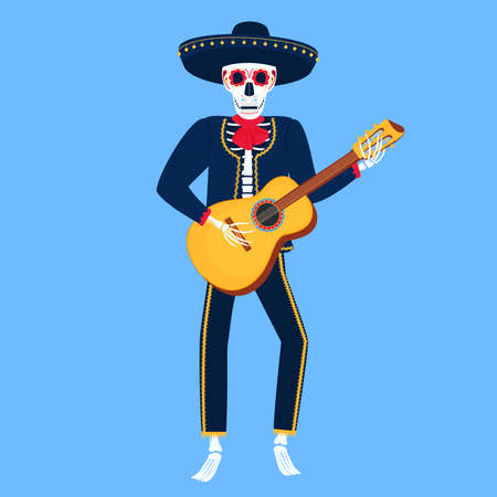 Mariachi. Funny skeleton plays guitar. Sugar Skull for the Day of the Dead