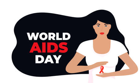 World Aids Day. A girl with long black hair holding a red satin ribbon Illusztráció