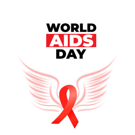 World Aids Day. Red satin ribbon with bird wings icon.