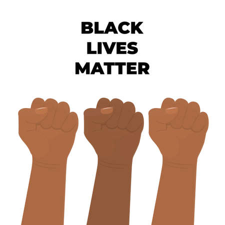 Black Lives Matter Design. Raised fist. The fight for human rights Ilustrace