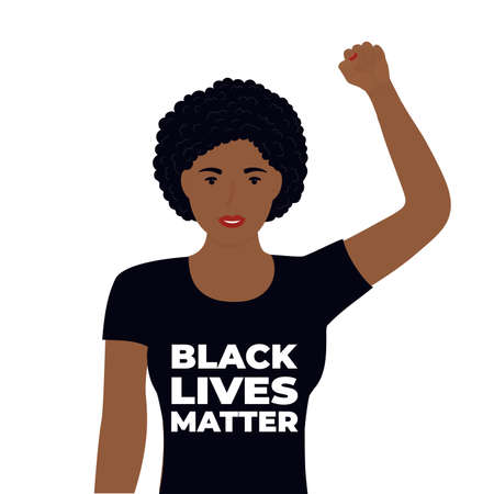 Black Lives Matter Design. African American woman raised her fist in protest