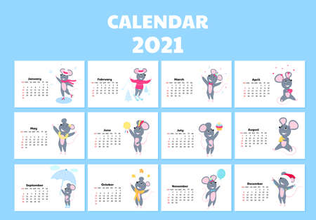 Calendar for 2021 from Sunday to Saturday. Cute rats in different costumes. Mouse cartoon character. Funny animal. Illusztráció