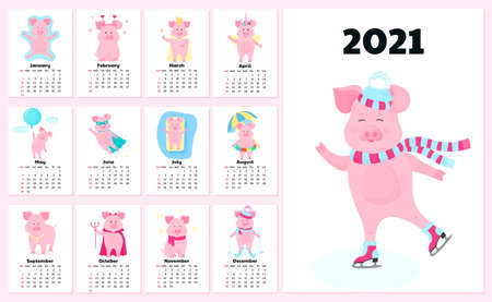 Calendar for 2021 from Sunday to Saturday. Cute pigs in different costumes.