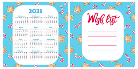 Gingerbread Cookie and lollypop. Wish list. Wall calendar for 2021. Christmas background