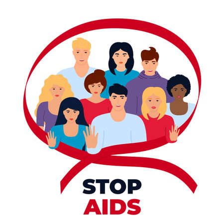 A diverse multi-ethnic group of people is united by the struggle against AIDS. Men and women show a gesture of stop. Red ribbon.