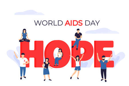 World Aids Day banner. Tiny people with red ribbons near the huge inscription Hope. Illusztráció