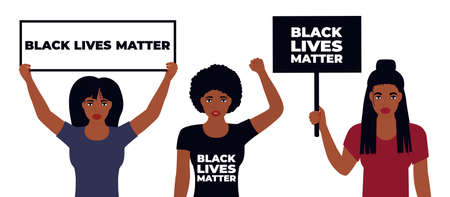 Black Lives Matter Design. African American woman raised her fist.