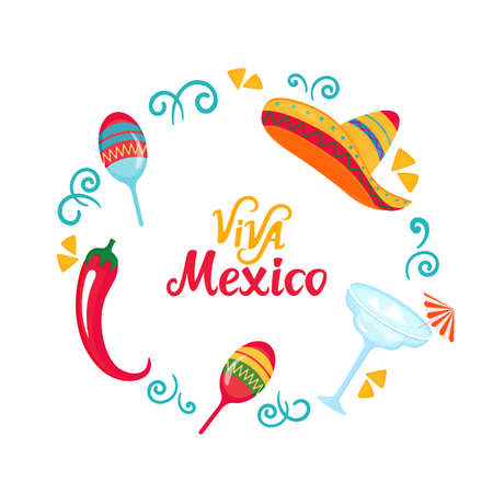Viva Mexico hand drawn lettering. Poster with sombrero, maracas, margarita and chili pepper. Independence Day.